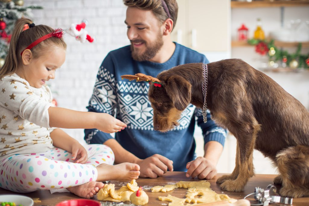 Father and daughter in kitchen for christmas with their dog.