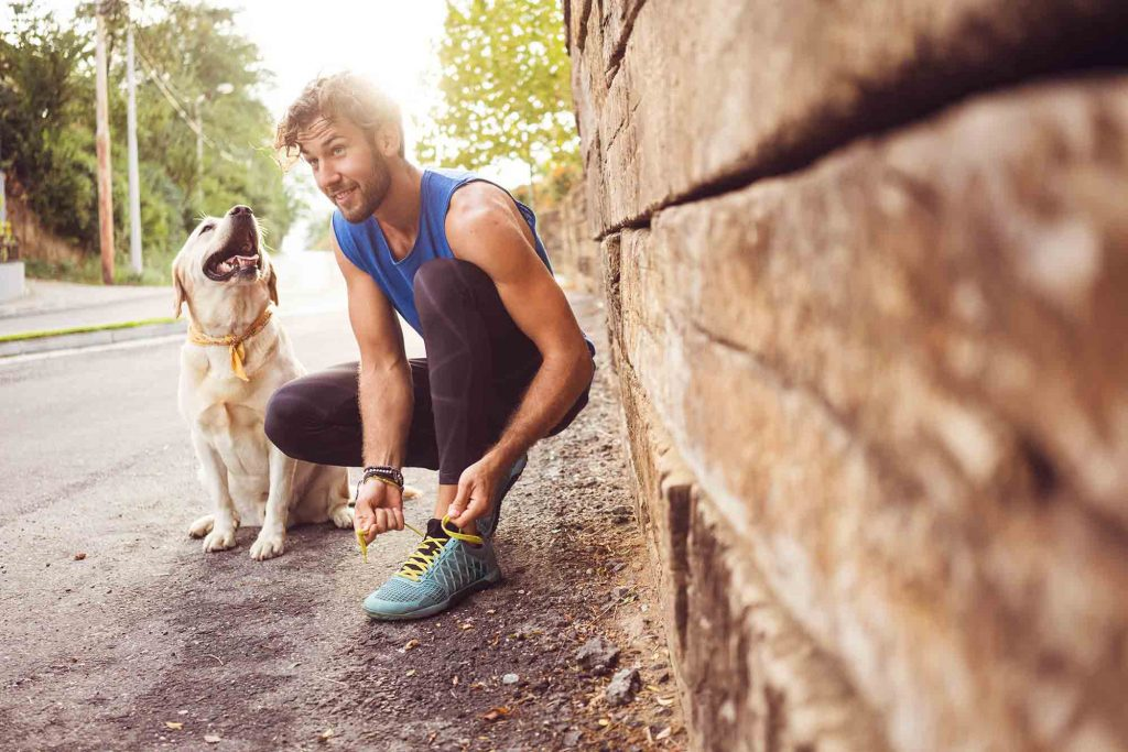 Running with dogs is great pet exercise, but be smart about pet safety.
